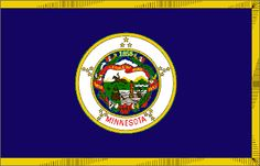 "Minnesota's State Flag (Entered the Union on May 11, 1858, 32nd state) ~ Origin of Name: From a Dakota Indian word meaning ""sky-tinted water"" ~ State Motto: The North Star ~ State Song: ""Hail Minnesota"" ~ National Forests: 2; State Forests:58; State Parks: 66 ~ Famous for: Lakes, The Mall of America"