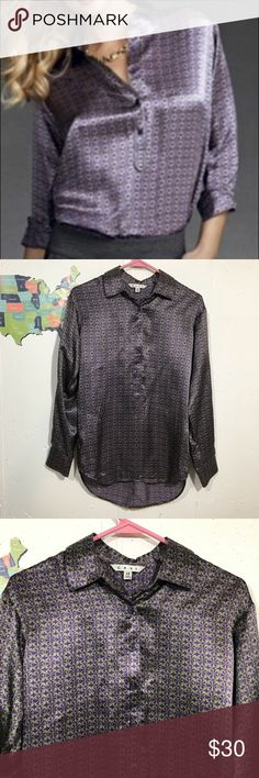 Vintage Cabi Printed Tunic 100% Silk blouse features unique geometric print.  Half button front with 4 buttons.  Collared.  Long sleeve.  2 buttons on bottom of each sleeve.   Excellent condition Dry clean only CAbi Tops Blouses