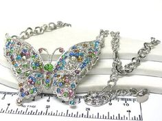Mutli size crystal large multicolor butterfly chain necklace