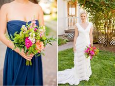 Love the dresses and love love the bright wedding flowers Amy Smart + Carter Oosterhouses Eco-Friendly Wedding