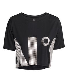 Short sports top in fast-drying mesh a printed design at front. Short sleeves. | H&M Sport