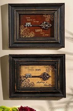 New Skeleton Key Shadow Box Wall Decor