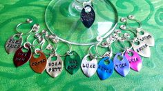 handstamped rainbow multicolour set of 12 star wars characters wine glass charms made in ireland. by terramor on Etsy Wine Glass Charms, Star Wars Characters, Hand Stamped, Washer Necklace, Ireland, Rainbow, Charmed, Stars, Unique Jewelry