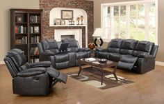 Grey Leather Reclining Living Room Set
