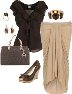 """Beautiful brown and beige work outfit"" by keri-cruz on Polyvore"