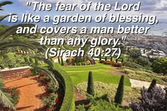 Beautiful garden in Haifa, Israel and a verse of truth to go with it!