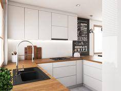 Biała kuchnia z drewnianym blatem - Kitchen Room Design, Interior Design Kitchen, Home Kitchens, Sweet Home, New Homes, Kitchen Cabinets, House Design, Architecture, Home Decor