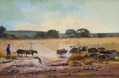 Look After My Sheep Size: x x Daniel Novela South Africa Oil on board painting by Daniel Novela. Painted Boards, Painters, South Africa, Sheep, Monkey, Christmas Gifts, African, Decorations, Oil