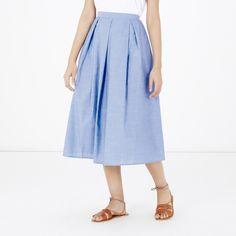 Warehouse, Full Cotton Midi Skirt Light Blue 3