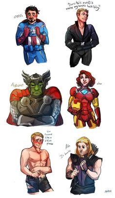 Avengers Dressup by CakeGun    Tony Stark, Clint Barton, Bruce Banner, Natasha Romanoff, Steve Rogers, Thor Odinson    600px × 1,031px    #humor #fanart