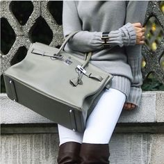 Grey sweater + White jeans + over knee leather boots