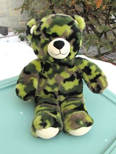"BUILD A BEAR Army Military Camouflage 17"" Stuffed Animal Plush Retired Easter GI #nooccasion"