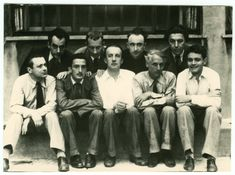 Surrealist Group, 1930 :: from left to right (top): Man Ray, Hans Arp, Yves Tanguy, Andre Breton. :: from left to right (bottom): Tristan Tzara, Salvador Dali, Paul Eluard, Max Ernst, Rene Crevel.