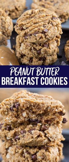 Peanut Butter Breakfast Cookies are a healthier way to eat cookies for breakfast. Made with oats, whole wheat flour, and flax, they have very little fat and are the perfect snack or breakfast recipe. via Crazy for Crust – Easy Recipes and Desserts Peanut Butter Breakfast, Peanut Butter Oatmeal, Healthy Peanut Butter, Healthy Food, Healthy Eating, Breakfast For Kids, Best Breakfast, Breakfast Recipes, Gastronomia
