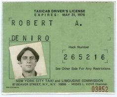 Robert De Niro's taxicab license used during his meticulous preparation for the 1976 thriller, Taxi Driver.