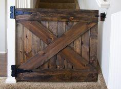 Custom wood barn door baby gate on etsy 200 00 Barn Door Baby Gate, Diy Baby Gate, Wood Barn Door, Baby Gates, Wood Baby Gate, Baby Door, Pet Gate, Doggie Gates, Baby Barn