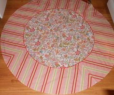 "WILLIAMS SONOMA TABLECLOTH BOTANICAL STRIPE 70"" ROUND stripe floral pink red #WilliamsSonoma"