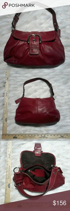 COACH VINTAGE 90s OXBLOOD RED HOBO SHOLDER BAG This is a simple but ellagent coach bag great for work or play! It has a magnetic clasp for easy access and a beautiful big nickel buckle for style points! as well as quality that shows in the soft but thick and supple leather get it well it lasts because it wont be here forever! COACH Bags Hobos