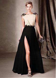 Buy discount Amazing Chiffon Bateau Neckline A-Line Evening Dresses With Beads at Dressilyme.com