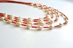 Red Heishi And White Pearl Jewelry $66