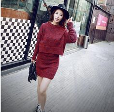 Cheapest Sweaters Fashion Long Sleeve Knit Two-Piece Show Thin Sweater Red