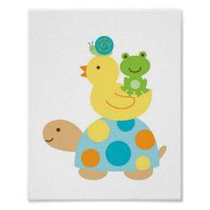 Pond Frog Turtle Nursery Wall Print