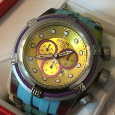 "Invicta Reserve 52mm Bolt Zeus ""Puppy Edition"" Swiss Made Quartz Chronograph Strap Watch Model Number Light Blue/Yellow: 21671"