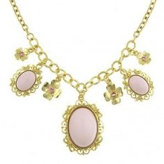 Flora Gold-Tone Pink Crystal and Light Rose Charm and Pendant Necklace
