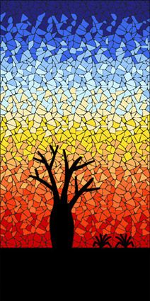 Completed Baobab sunset mosaic mandala kit created in ceramic tiles Design by Brett Campbell Mosaics