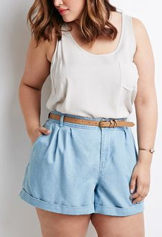 Belted Chambray Shorts | Forever 21 PLUS - 2000132203                                                                                                                                                      More