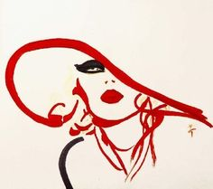Illustration by René Gruau, Brigitte Bardot with a red hat.