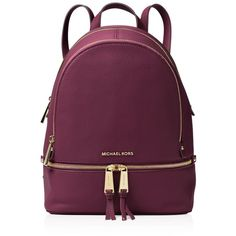 Michael Michael Kors Rhea Zip Small Leather Backpack In Mulberry Pink/gold Red Backpack, Small Backpack, Backpack Bags, Fashion Backpack, Stitch Backpack, Tote Bags, Rucksack Bag, Mk Bags, Backpack Straps