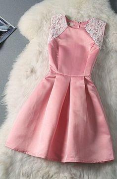 Đầm hồng dự tiệc phối ren - MSP: DHQ 06 - Đầm liền   tutushop.vn