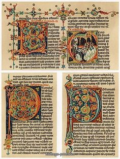 """Text page with illuminated initial letters, 14th century. From """"Racionale divinorum officiorum"""", produced in Italy."""