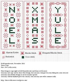 Design: Xmas Tags Size: 19w x 42h (each) Designer: Kell Smurthwaite, Kincavel Krosses Permissions: This design is copyright to Kell Smurthwaite and Kincavel Krosses You may use, copy and/or share t...