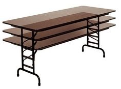 Solid Adjustable Height Folding Table (30 in. x 60 in./Walnut)