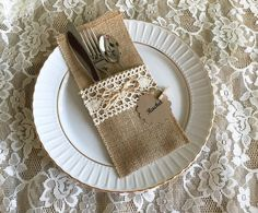 burlap and lace rustic silverware holder, wedding, bridal shower