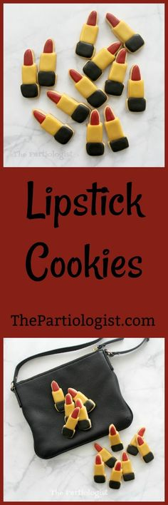 The Partiologist: Lipstick Cookies! Egg Recipes, Cookie Recipes, Fun Cookies, Party Shop, Shortbread, Cookie Monster, Cookie Decorating, Christmas Cookies, Peanut Butter