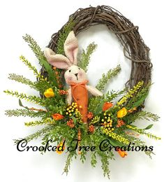 One Of A Kind Wreaths, Arrangements And Floral Decor by CrookedTreeCreation Easter Wreaths, Mesh Wreaths, Christmas Wreaths, Summer Wreath, Spring Wreaths, Lush, Wreath Boxes, Yellow Tulips, Handmade