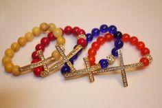Neon Sideways Cross Bracelet