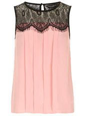 Pink lace pleat insert top