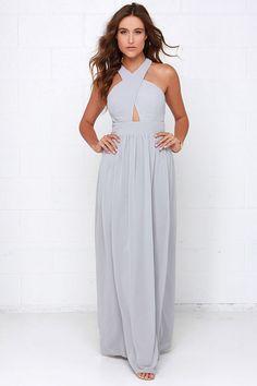 Evening Dream Light Grey Maxi Dress | Formal dresses, Zippers and ...