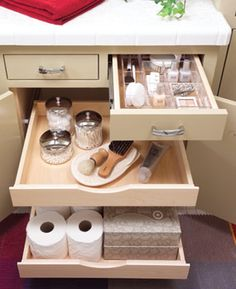 Wonder how hard it would be to add pull out shelves in the vanity?