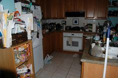 The ugly scary before of my DIY oak kitchen redo.  Watch my blog for updates.
