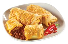Fried Tortillas Stuffed with Chili Con Carne, Topped with Cheddar Cheese. Made from scratch in-store. Fried Tortillas, Chimichanga, Snack Recipes, Snacks, Cheddar Cheese, Fries, Dishes, Store, Food