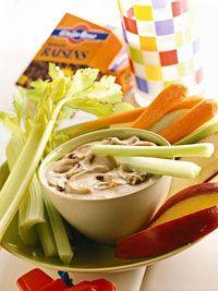 Peanut butter and Raisins Dip with veggies :) mmm
