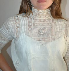 Antique 1900s Victorian White Cotton Inlaid by chrissyjosimpy5, $75.00