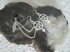 Pentacle Earrings, wiccan jewelry pagan jewelry wicca jewelry goddess witch witchcraft pentagram metaphysical magic wiccan earrings by Sheekydoodle on Etsy