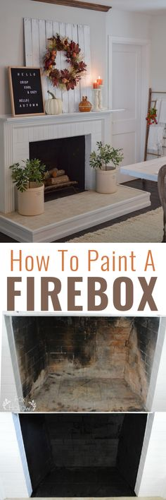 It only takes about 30 minutes to paint and refresh your fireplace firebox, and I'll share with you exactly how to do it, and what I used! Cottage Farmhouse, Cottage Style, Paint Fireplace, Vintage Diy, Fall Diy, Home Hacks, Home Decor Inspiration, Furniture Makeover, Cleaning Hacks