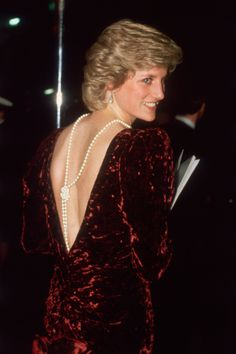 The best photos of royal red carpet moments at film premieres from 1960 to present day: see William and Kate, Charles and Camilla, Diana, the Queen and more enjoying their movie star moments Princess Diana Hair, Princess Diana Dresses, Princess Diana Fashion, Princess Kate, Princess Of Wales, Kate Middleton, Velvet Evening Gown, Velvet Gown, Backless Gown